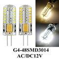 10 pçs/lote AC12-24V 3 w 48led 3014smd levou cristal lâmpada led de luz branca Quente/branco levou g4 lâmpada livre grátis