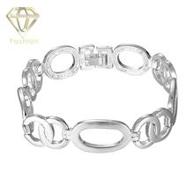 Fashion Jewelry Fine Luxury Brand Elegant Silver Plated Watchband Chain Link Bracelets Bangels for Lovers Christmas