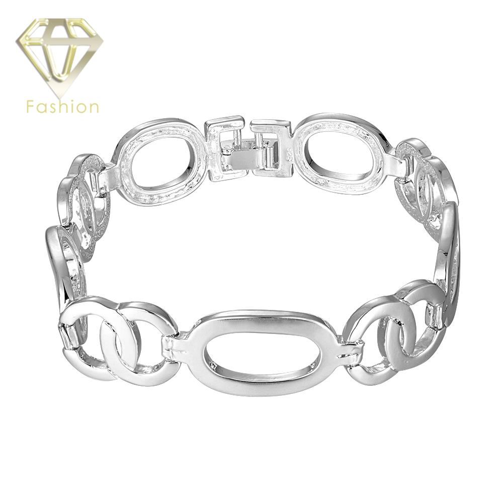Fashion Jewelry Fine Luxury Brand Elegant Silver Plated Watchband Chain Link Bracelets Bangels for Lovers font