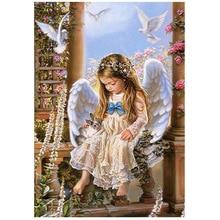 лучшая цена Diy diamond painting cross stitch  mosaic round drill embroidery little angel rhinestones material for handmade