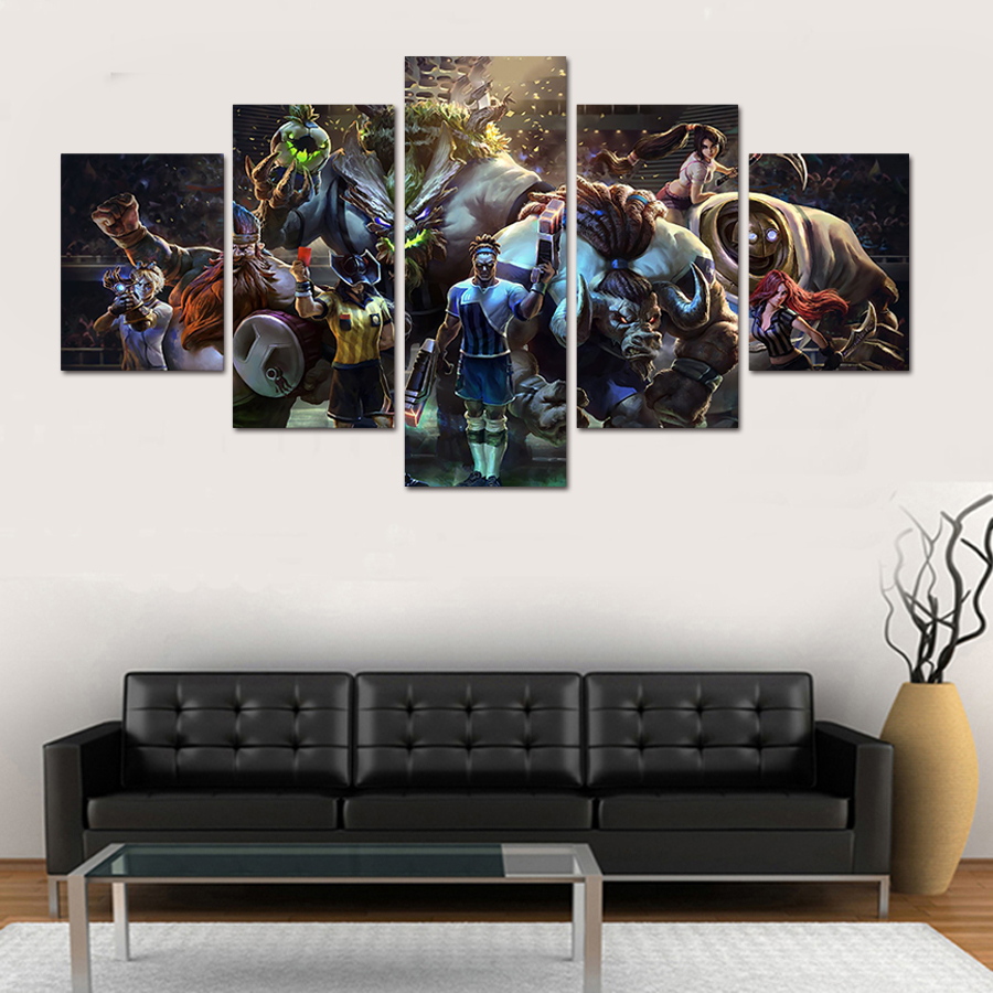 5 pieces Hand Painted Canvas Wall Paintings Poster Mass Effect Canvas Painting Modern Home Decoration For Modular Decor Picture
