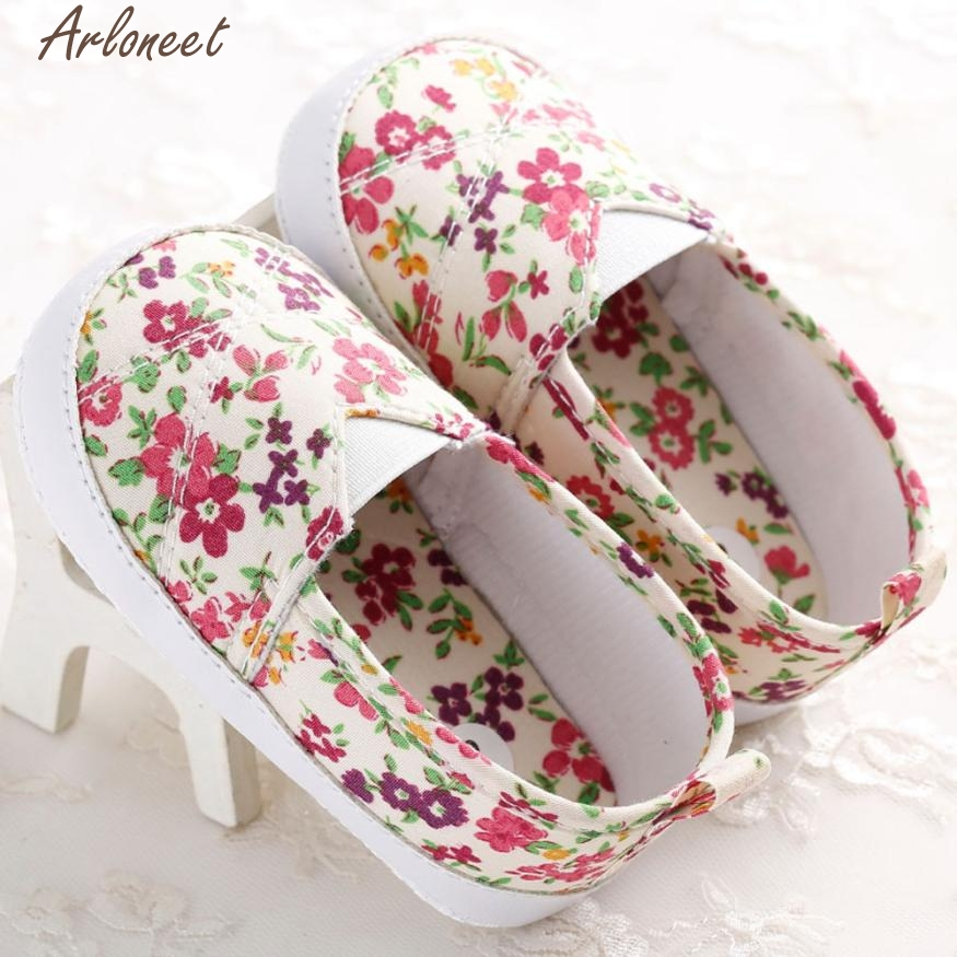 ARLONEET Fashion Baby Shoes Prewalker Toddler Infant Newborn Baby Girl Floral Printed Soft Sole Prewalker Shoes Oct19