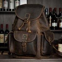 2019 натуральная кожа рюкзак Мужская Дизайнерская школьная сумка из воловьей кожи рюкзак ручной работы винтажные повседневные книжные сумки
