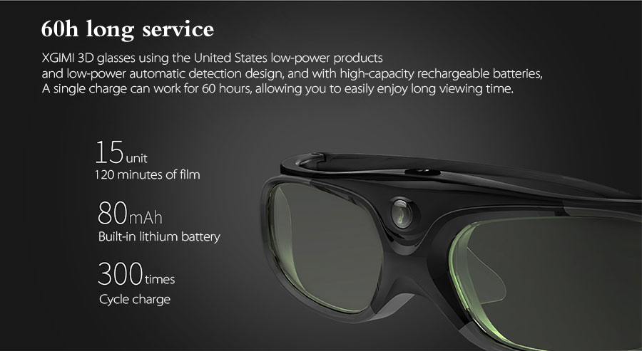 XGIMI Shutter 3D Glasses Virtual Reality LCD Glass for XGIMI H1/ XGIMI H2 / Z6/ H1S/ XGIMI Z3 / JMGO Projector Built-in Battery