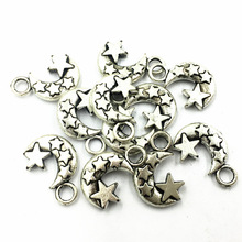 10Pcs Pendants Stars With Moon Metal Antique Silver Tone Jewelry Craft DIY Finding Accessories Charms 20mm