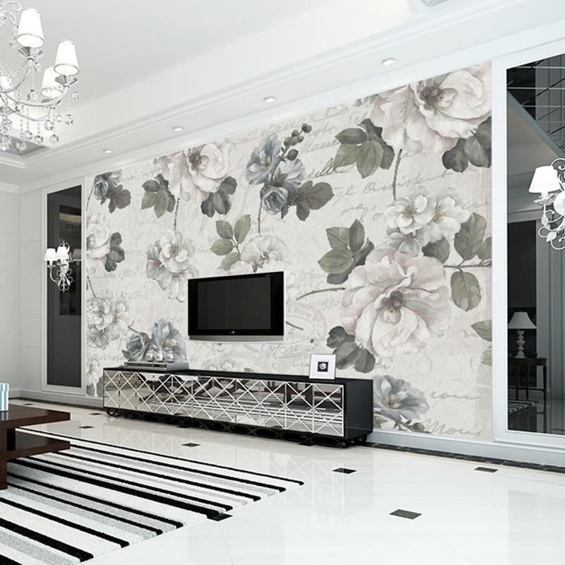 Beibehang wallpaper for walls 3d gray roses custom for Wallpaper for large walls