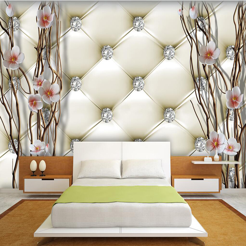 Custom 3D Mural Wallpaper European Style 3D Stereo Relief Diamonds Plum Soft Pack Photo Wallpaper Bedroom Landscape Design Mural