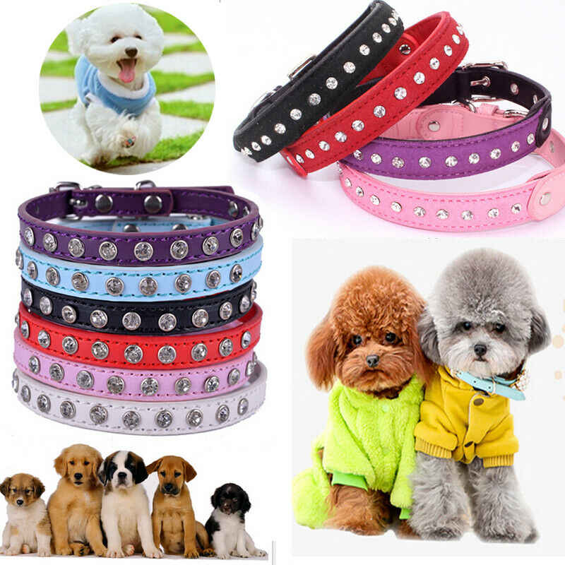 Cute Diamond Adjustable Small Pet Dog PU Leather Collar Puppy Cat Buckle Neck Strap 5 Styles