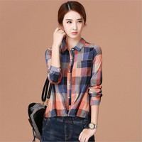 2017 New Women Fashion Plaid Pattern Blouses Shirts Womens Casual Turn Down Collar Long Sleeve Basic