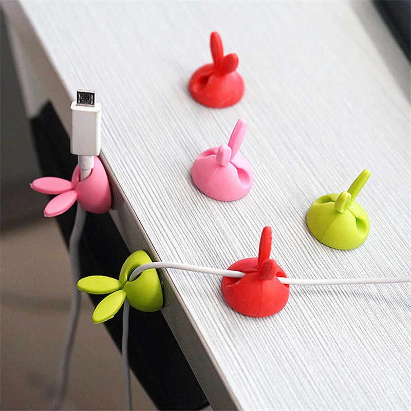 SIANCS 2 sztuk śliczne królik USB opaski organizator przewód zasilający Fixer klip kabel do słuchawek Winder zacisk zacisk protector