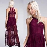 SORCHIDF Chic 2018 New Women Elegant Lace Dress Sexy Halter Neck Slim Skinny Maxi Split Party