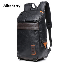 Preppy Style Men Backpack Multifunction Leather Shoulder Bags Teens School Bag Book Rucksack Male Travel Vintage Bag pack