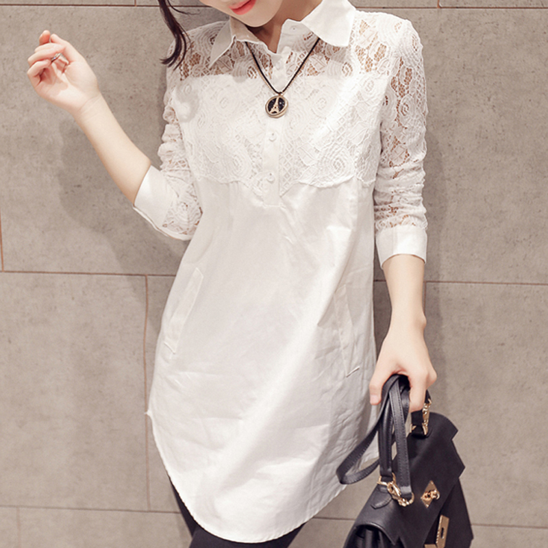 Korean Lace Fashion Midi Loose Full Sleeve Blouses Elegant Solid button Clothings Sexy Chic Pockets Casual blusas
