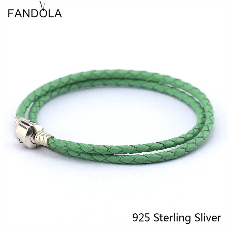 Leather Bracelets Jewelry Green Chain Authentic 925 Sterling Silver Clasp Clip DIY Suitable For European Beads And Charms CKK