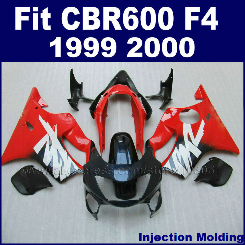 цена на Custom Motorcycle Injection fairing kits for HONDA 1999 2000 CBR600F4 CBR600 F4 CBR 99 00 600 F4 red blue bodyworks fairngs kit