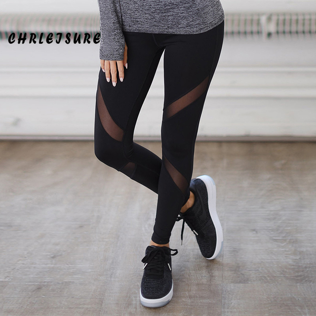 CHRLEISURE Sexy Women Leggings Gothic Insert Mesh Design Trousers Pants Big Size Black Capris Sportswear New Fitness Leggings 2