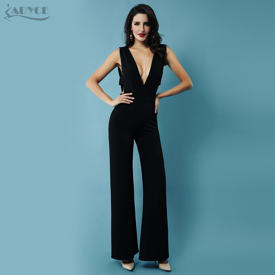 Adyce 2019 New Summer Women   Jumpsuits   Elegant Black Sexy Deep V-Neck Backless   Jumpsuit   Celebrity Party Club   Jumpsuit   Rompers