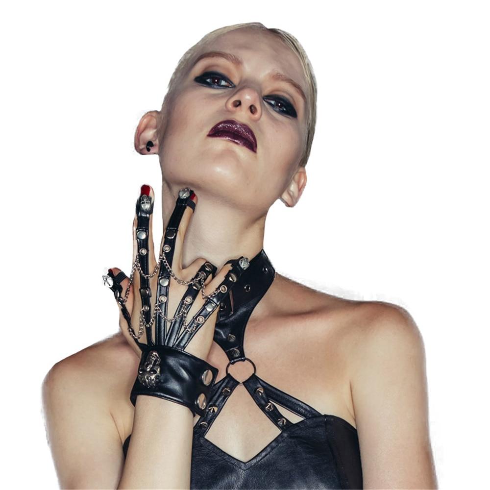 Steampunk Skeleton Leather Gloves Motorcycle Bike Women Hand Claw Cosplay Fingerless Gloves