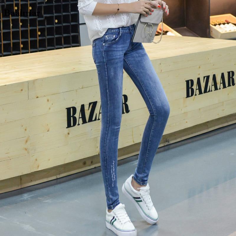 Hot Sale Skinny Jeans Woman Autumn New 2017 Pencil Jeans For Women Fashion Slim Blue Jeans