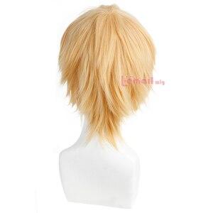 Image 5 - L email peruk Yepyeni Erkek Peruk 32 cm/16.6 inç Kısa Sarışın Isıya Dayanıklı Sentetik Saç Peruk erkekler Cosplay Peruk