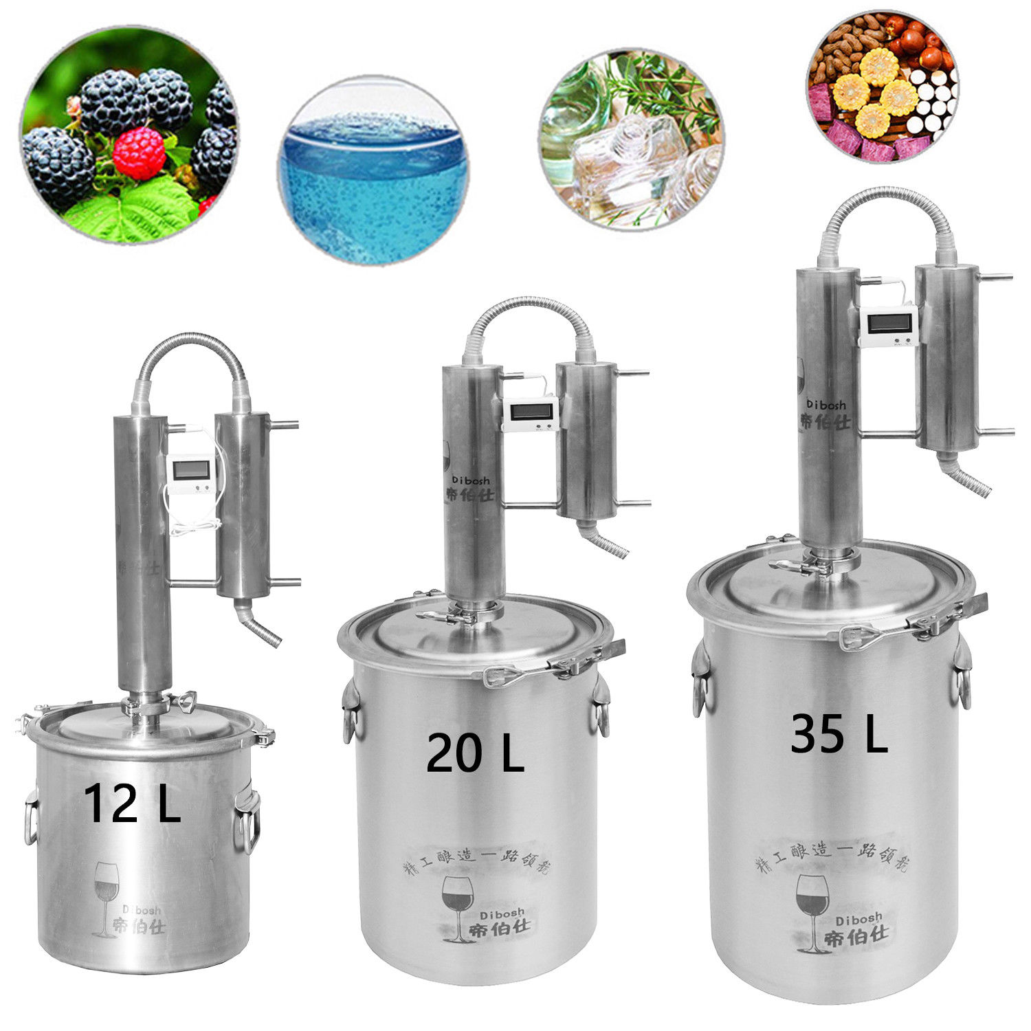 12L-35L New 304/316 Stainless Moonshine Still Water Distiller Alcohol Vodka White Spirit Brew Kits w/Thermometer Cooling Pipe