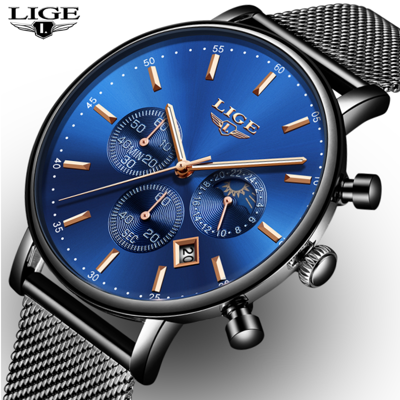 LIGE Men Fashion Watches Male Top Brand Luxury Quartz Watch Men Casual Slim Dress Waterproof Sport WristWatch Relogio MasculinoLIGE Men Fashion Watches Male Top Brand Luxury Quartz Watch Men Casual Slim Dress Waterproof Sport WristWatch Relogio Masculino