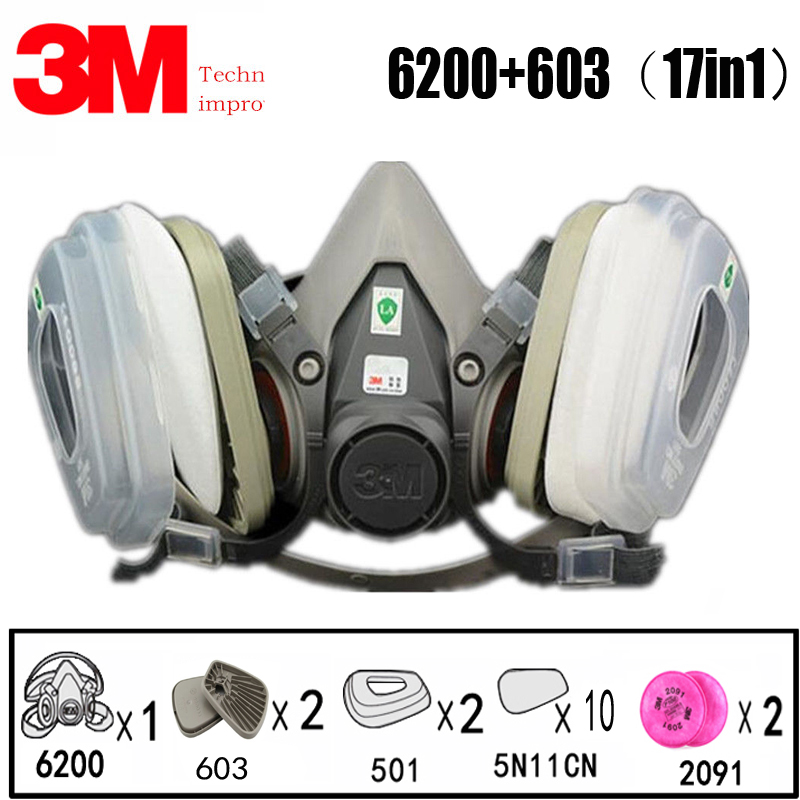 17 In 1 3M 6200 Industrial Half Mask Spray Paint Gas Mask Respiratory Protection Safety Work Dust-proof Respirator Mask Filter