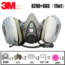 17 in 1 3M 6200 Industrial Half Mask Spray Paint Gas Respiratory Protection Safety Work Dust-proof Respirator Filter