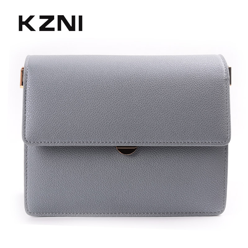 KZNI Leather Shoulder Bag for Girl Genuine Leather Crossbody Bags for Women Purses and Handbags Bolsa Feminina Sac a Main 9036 kzni genuine leather crossbody bags for women purses and handbags women famous brands top handle bags female 2017 sac a main9012