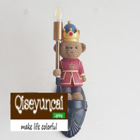 Qiseyuncai Children's room England soldier bear legion wall lamp boy girl bedroom soft decoration lighting free shipping