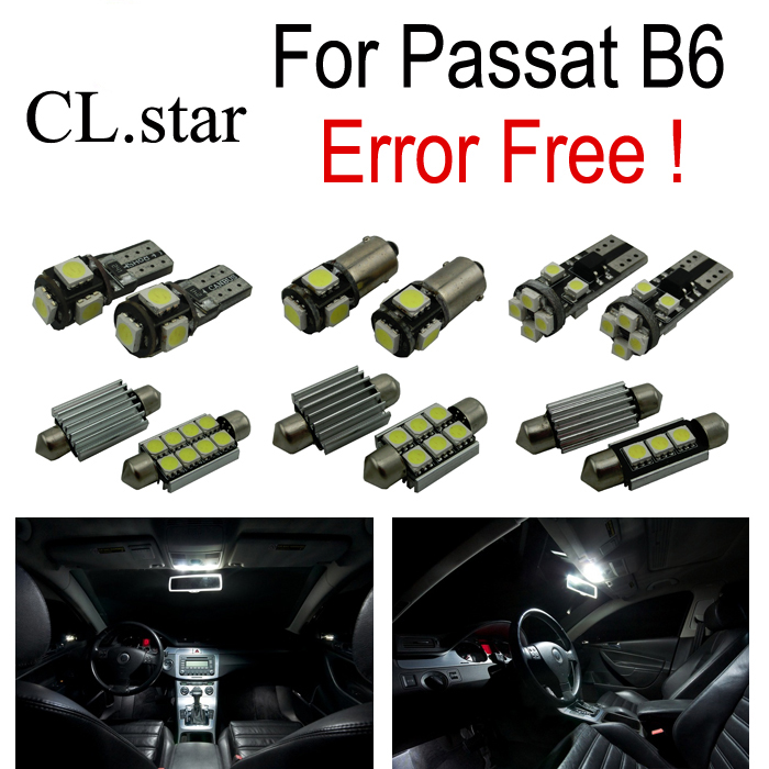 14pcs canbus error free license plate light LED lamp interior light full Kit for Volkswagen VW Passat B6 (2006-2011) 2pcs lot 24 smd car led license plate light lamp error free canbus function white 6000k for bmw e39 e60 e61 e70 e82 e90 e92