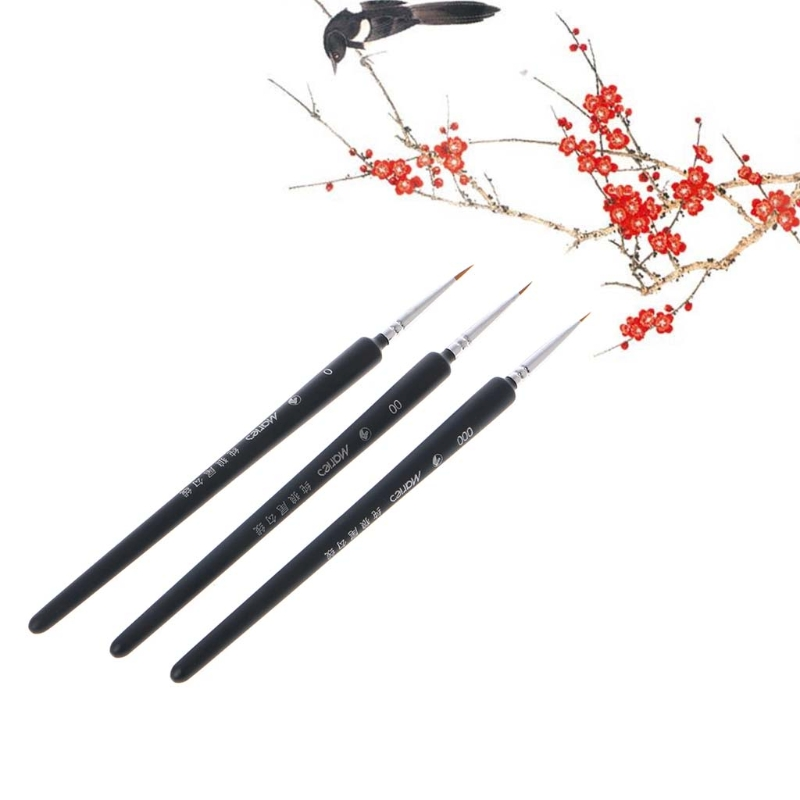 3Pcs Miniature Paint Detail Brush 0/ 00/ 000 Wolf Hair Professional Fine Detailing For Art Supplies Drawing Art Pen Paint Brush