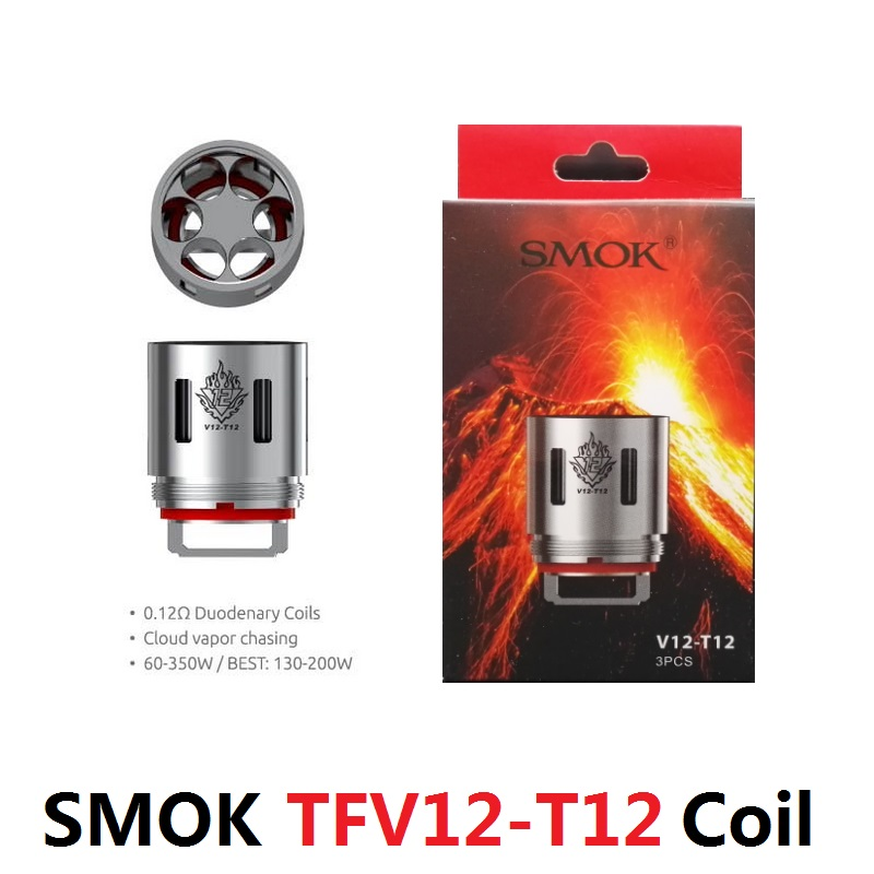 ORIGINAl elektronik sigara SMOK vape TFV12 T12 0.12OHM DUODENARY COILS V12-T12 cigarro eletronico vaporizador 3PCS/L