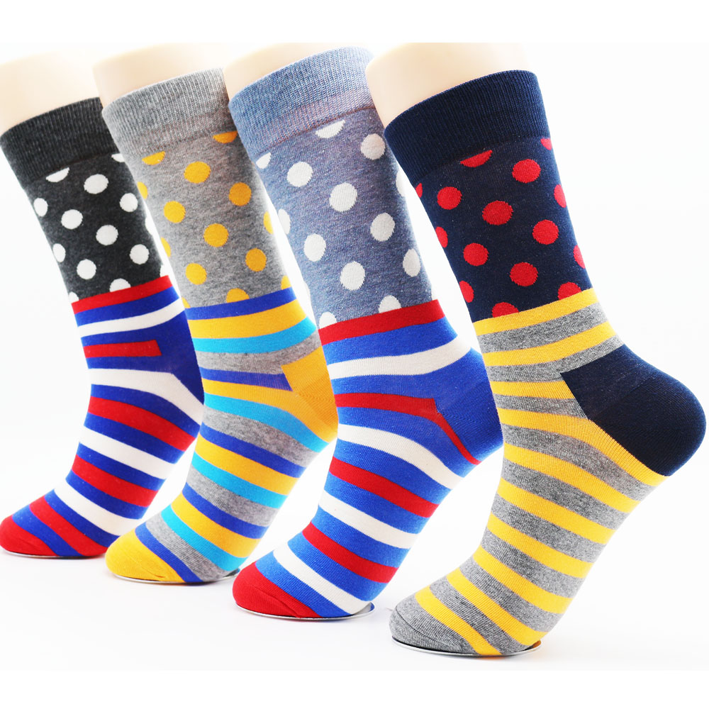 New design winter colorful mens cotton stripe socks high quality fashion hip hop men socks colorful(4 pairs)