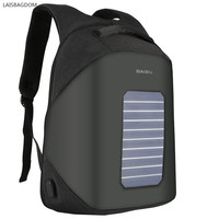 Solar Panel Power Backpack External USB Charge Bag Large Capacity Business Travel Anti Theft Waterproof Laptop