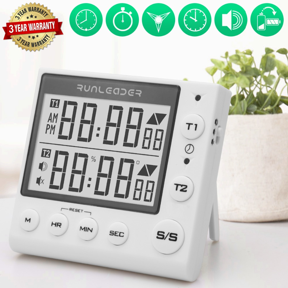 Digital kitchen cooking timer clock, 2-channel simultaneous timer countdown pocket timer, large LED display, loud alarm цены