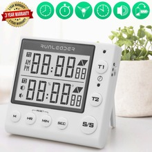 цена на The new two channel timer, large screen digital display, countdown timer, positive timer, with bracket, multi-purpose timer