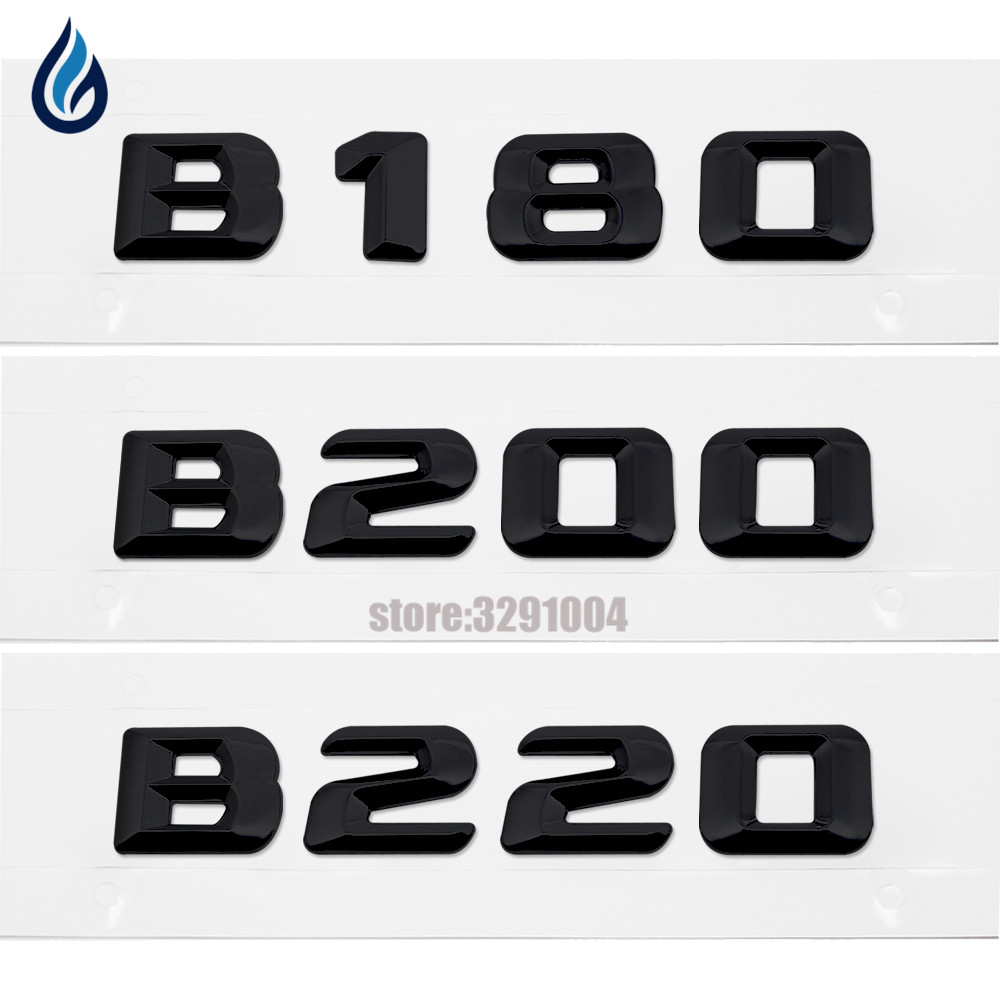 Black Plastic Car Rear Trunk Logo Badge Emblem Number Letters Decal Sticker For Mercedes Benz B180 B200 B220 AMG W242 W246 W245 car styling for mercedes benz g series w460 w461 w463 g230 g300 g350 chrome number letters rear trunk emblem badge sticker