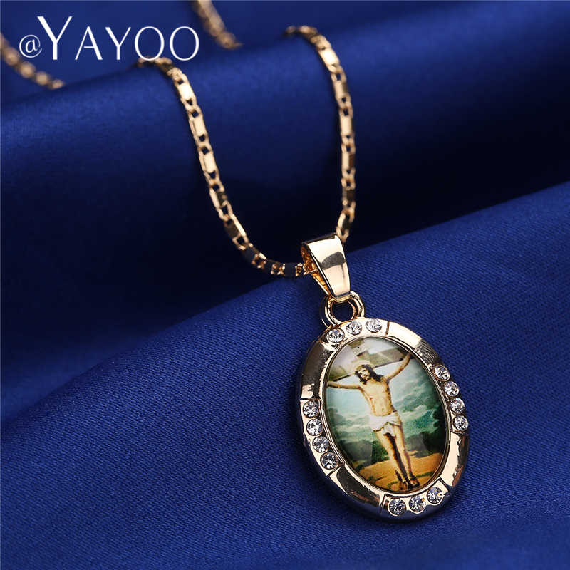 AYAYOO naszyjniki złoty kolor jezus maryja dziewica naszyjnik damski łańcuszek moda długi naszyjnik ślub mężczyźni Vintage naszyjniki