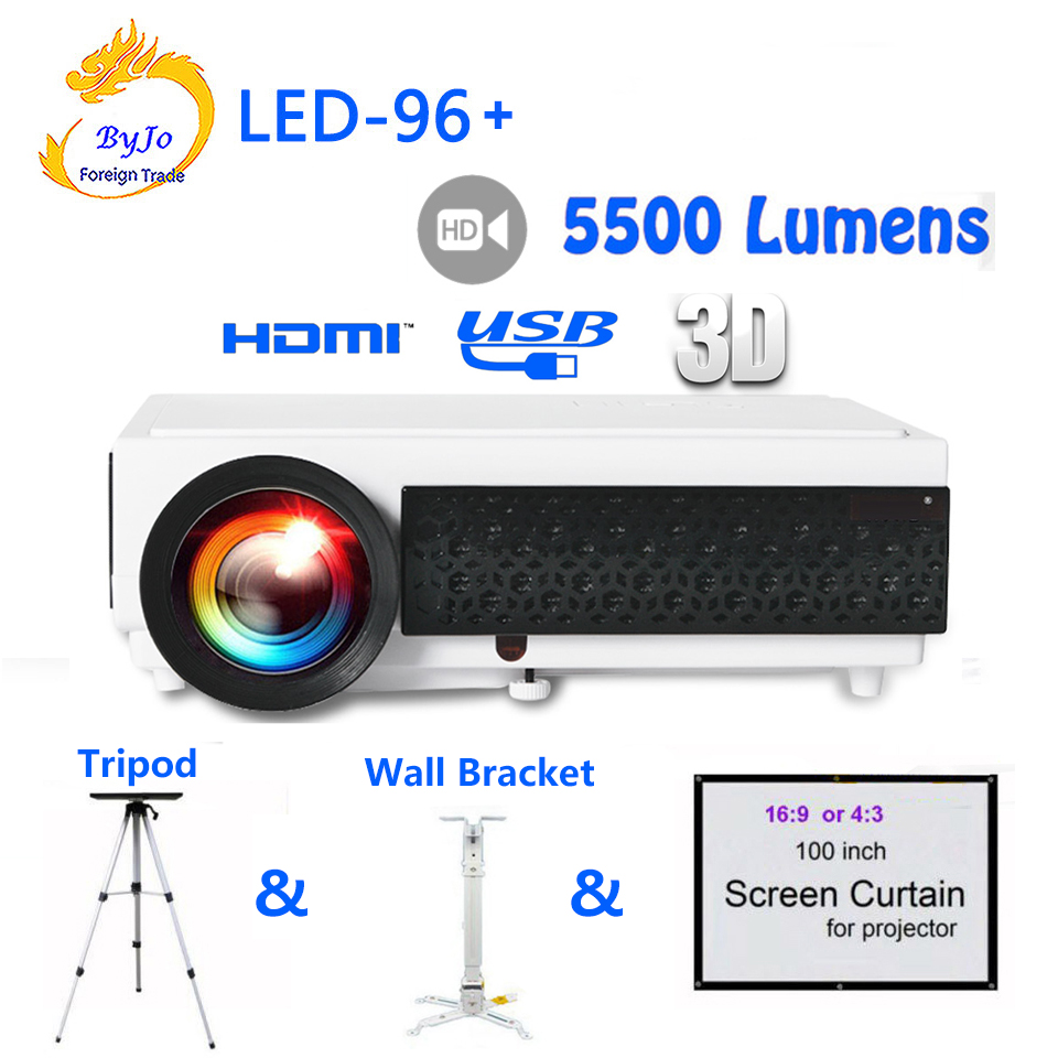 Poner Saund LED96+ LED Projector 1080P 5500lumens With curtain or stand HDMI Full HD Home theater system proyector 3D projector poner saund lcd gp12 led mini projector for home theater support full hd 1080p hdmi usb sd