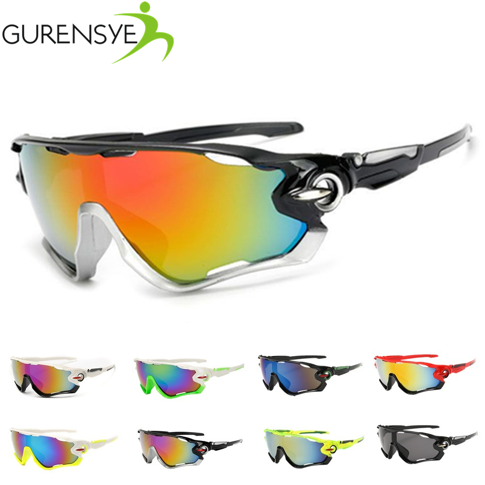 Gurensye Brand New Design Big Frame Colourful Lens Sun Glasses Outdoor Sports Cycling Bike Goggles Motorcycle Bicycle Sunglasses