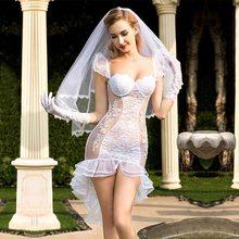 Görmek Tam Kıyafet Seksi Gelin düğün elbisesi Kostüm Fantezi Kadınlar Gelin Elbise Beyaz Gelin Cosplay Erotik Kostüm Beyaz