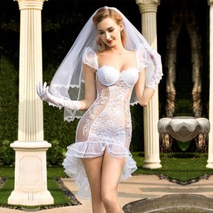 Image 1 - See Through Full Outfit Sexy Bride Wedding Dress Costume   Fancy Women Bridal Dress White Bride Cosplay Erotic Costume White