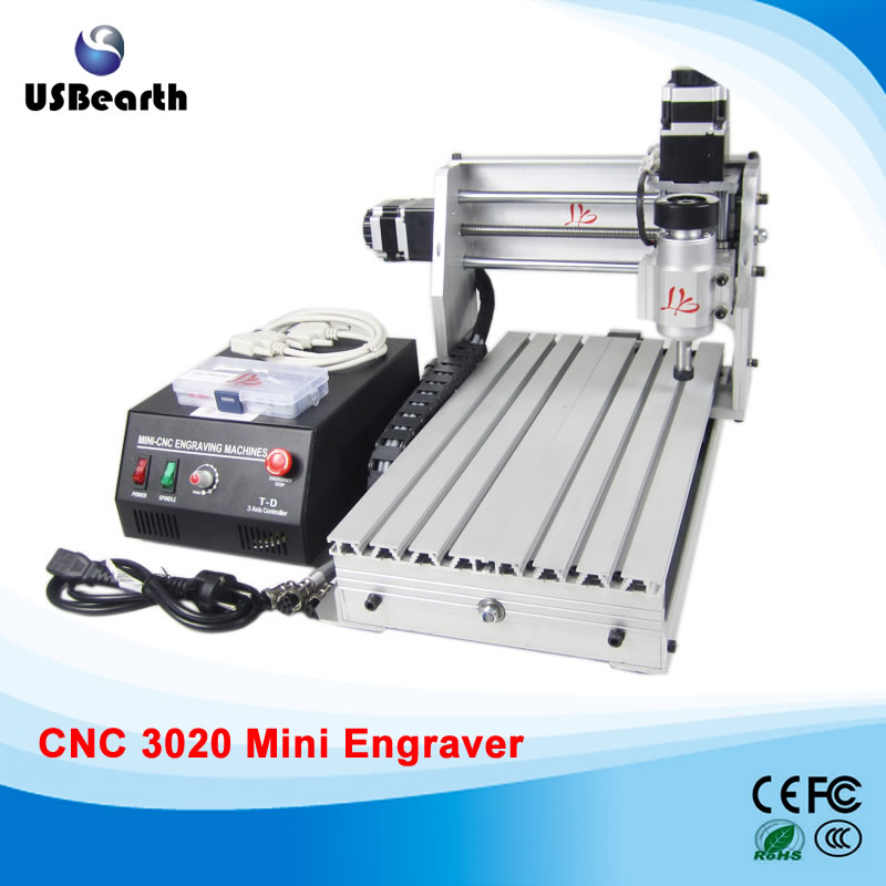 mini cnc router 3020Z-DQ with ball screw Engraving machine milling router with tool bit and vise no tax mini desktop cnc milling engraving machine cnc 3020z d300 with ball screw and 300w spindle