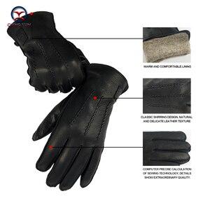 Image 3 - CHING YUN Winter Man Deer skórzane rękawiczki Buckskin męskie ciepłe miękkie męskie czarne wzór fali rękawiczki 70% wełna Lining WZ02