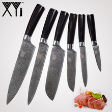 hot deal buy xyj stainless steel kitchen knives accessories wood handle chef slicing santoku utility paring damascus veins cooking knife tool