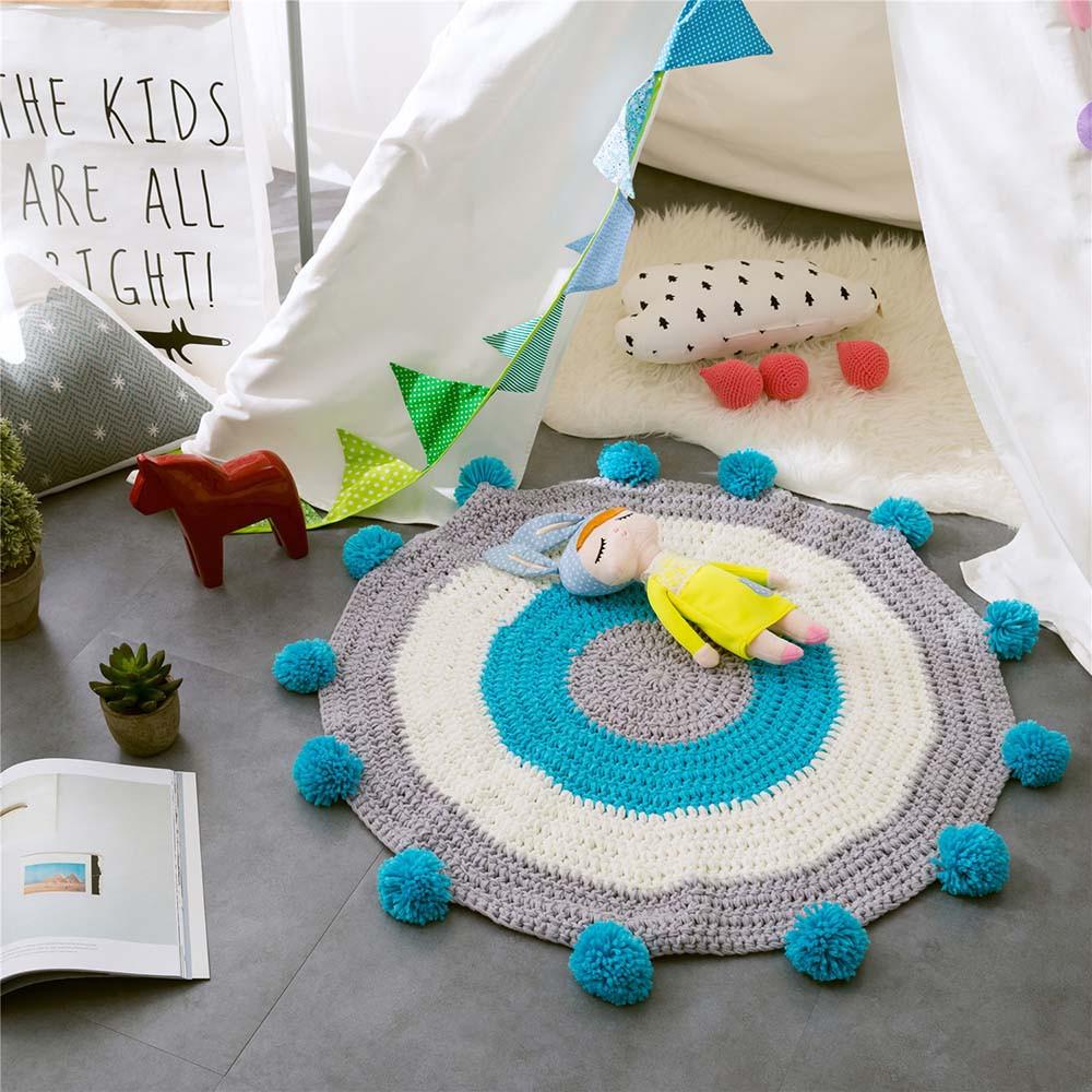 INS Children Premises Mat Hand-woven Mats Baby Play Mats Knitted Blanket Handmade Ball Children Premises Mat Crawling Mat (2)