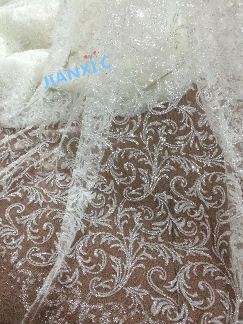 glitter african india mesh tulle lace fabric fashion french net lace JIANXI C 112958 with glued