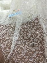 Tela de encaje de malla de tul con purpurina, JIANXI.C 112958 de encaje rojo francés con purpurina