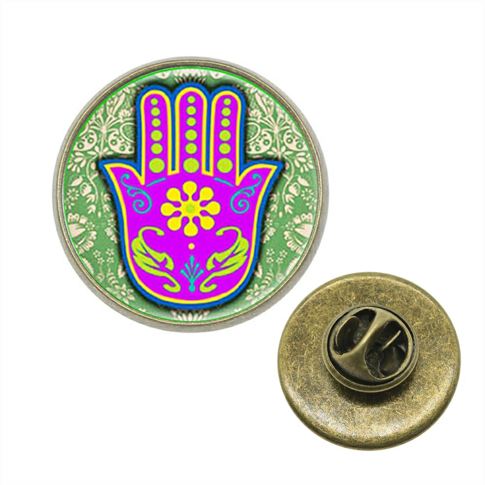 Competent 10pcs Brooch Pins 12 Patterns 2 Colors 5 Size Lucky Hamsa Hand Glass Cabochon Brooch Jewelry For Men Xa-z-g1632 Cheapest Price From Our Site Jewelry Sets & More